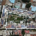 Rooftop solar aerial view